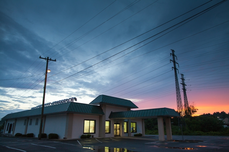 Sunset over laundromat